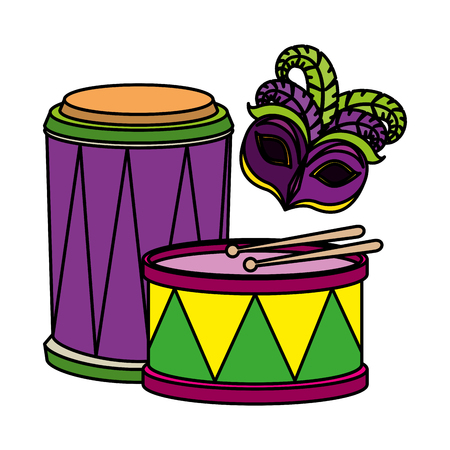 carnival mask with feathers and drums vector illustration design