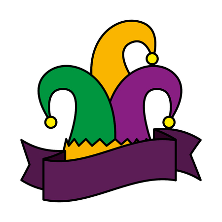 harlequin hat traditional icon vector illustration design Stock Vector - 114794402