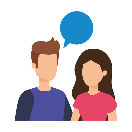 young couple with speech bubble characters vector illustration design Vector Illustratie