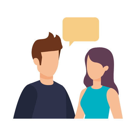 young couple with speech bubble characters vector illustration design 일러스트