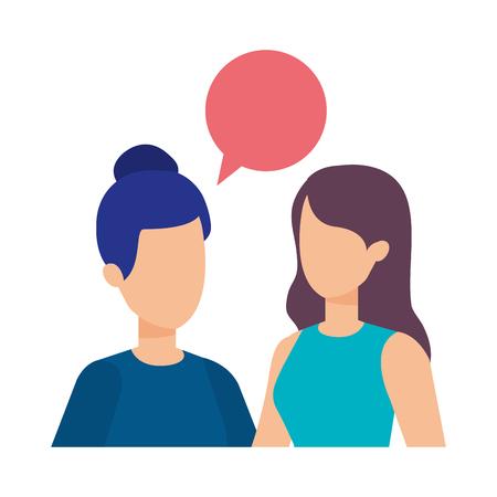 couple of girls with speech bubble vector illustration design Ilustración de vector