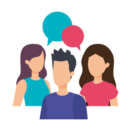 group of people with speech bubble characters vector illustration design