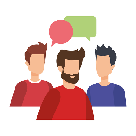group of men with speech bubbles vector illustration design