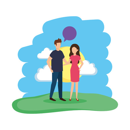 young couple with speech bubble in the field vector illustration design