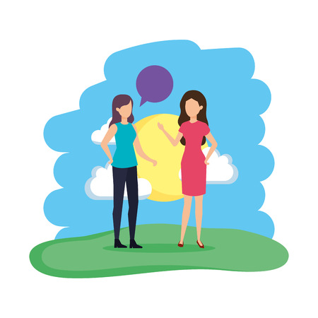 couple of girls with speech bubble vector illustration design Illusztráció