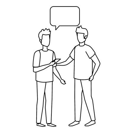couple of men with speech bubble vector illustration design Stock fotó - 126387936