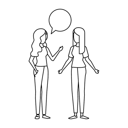 couple of girls with speech bubble vector illustration design