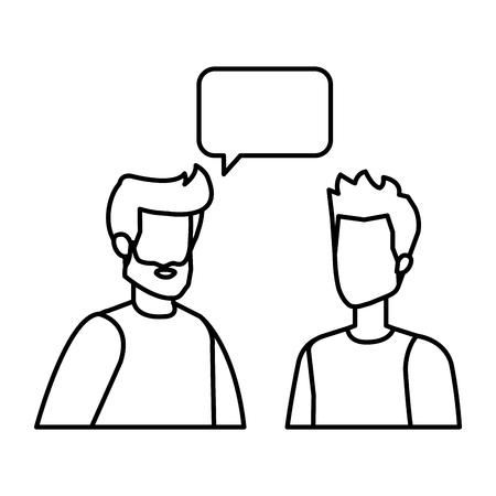 couple of men with speech bubble vector illustration design