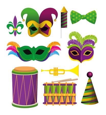 set mardi gras decoration accessories to festival vector illustration