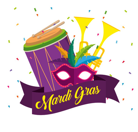 mardi gras celebration with trumpets and drum vector illustration