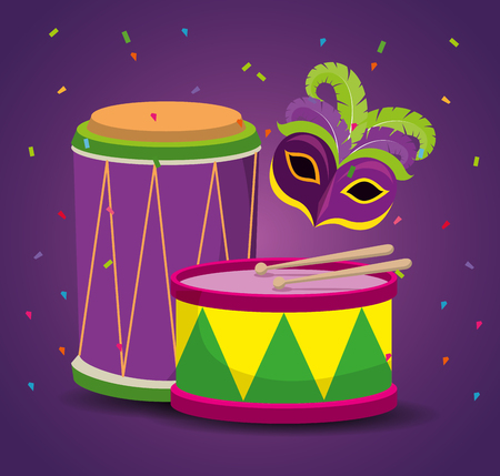 mardi gras celebration with party mask and drum vector illustration