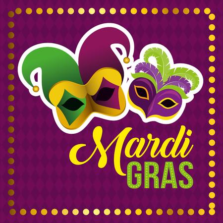 mardi gras celebration with festival masks vector illustration