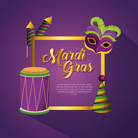 mardi gras celebration with frame decoration vector illustration