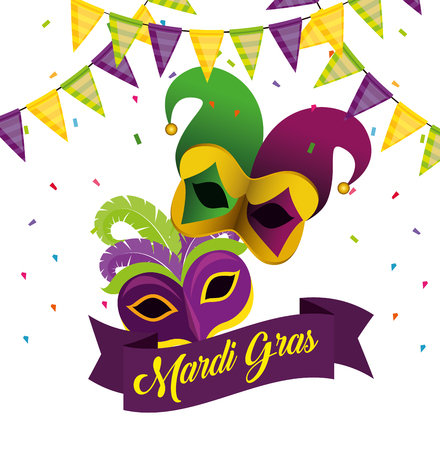 mardi gras with party banner and masks vector illustration