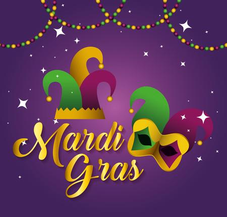mardi gras con cappello da festa e maschera illustrazione vettoriale Vettoriali