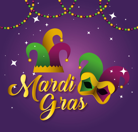 mardi gras with party hat and mask vector illustration