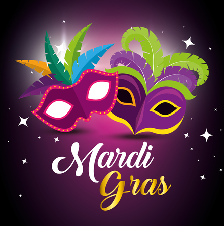 mardi gras with party masks to festival vector illustration