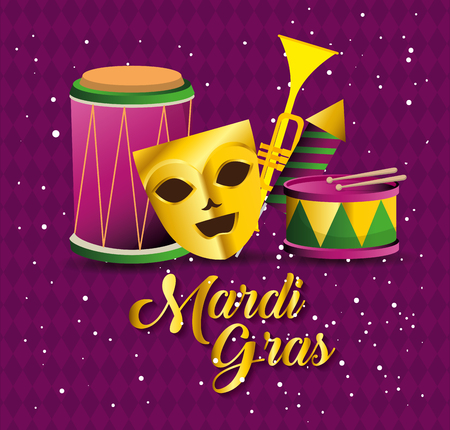 mardi gras with party mask and instruments vector illustration