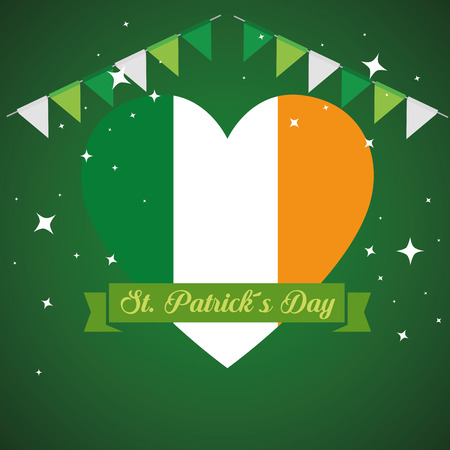 st patrick decoration with heart ireland flag and party banner vector illustration Stock Illustratie