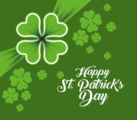 st patrick celebration with clovers decoration vector illustration