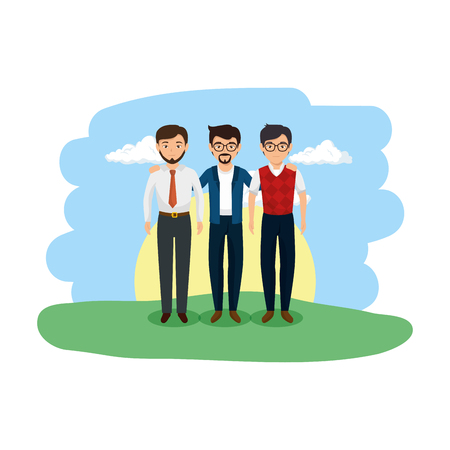 group of men in the landscape vector illustration design