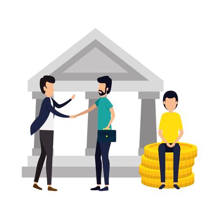 group of businessmen avatars characters vector illustration design Illusztráció