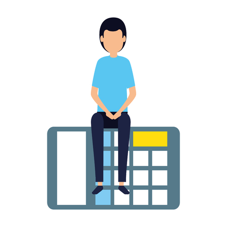 elegant businessman sitting in calculator vector illustration design