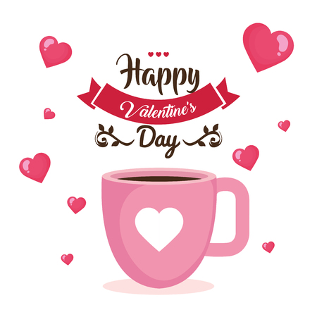 happy valentines day card with ribbon vector illustration design