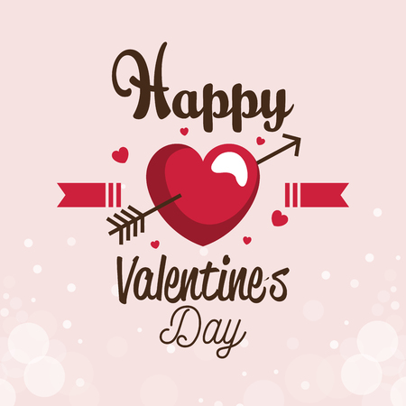 happy valentines day card with heart and arrow vector illustration design Illustration