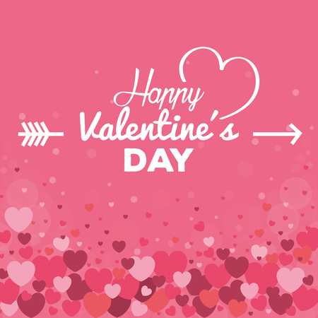 happy valentines day card with hearts pattern vector illustration design Ilustração
