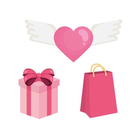 happy valentines day set icons vector illustration design Illustration
