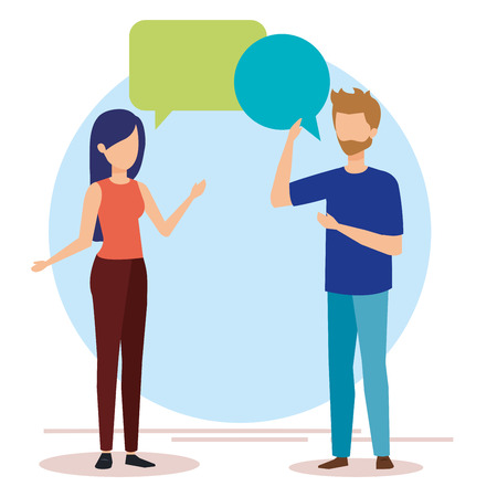 couple talking with speech bubbles vector illustration design