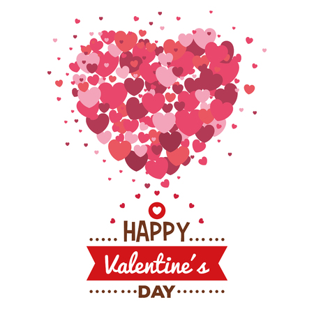 happy valentines day card with hearts pattern vector illustration design