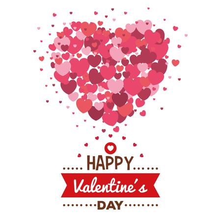 Tarjeta del feliz día de San Valentín con corazones, diseño de ilustraciones vectoriales patrón Ilustración de vector