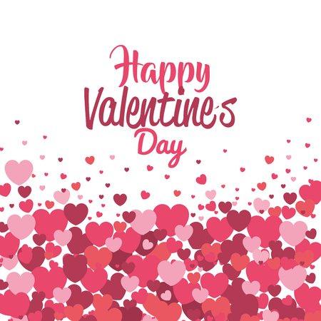 happy valentines day card with hearts pattern vector illustration design 向量圖像