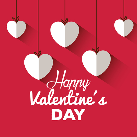 happy valentines day card with hearts hanging vector illustration design
