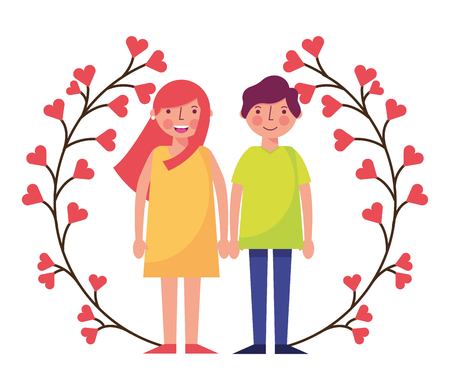 cute couple flowers wreath happy valentines day vector illustration Иллюстрация