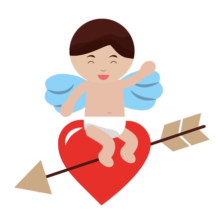 cupid sitting heart arrow happy valentines day vector illustration