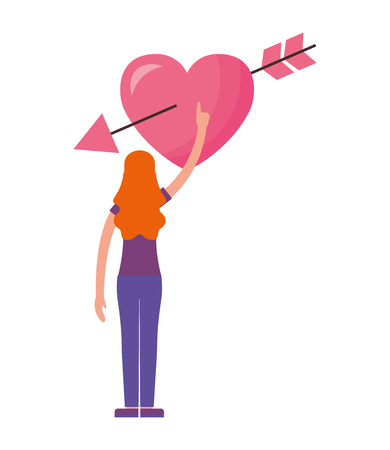 woman touching heart happy valentines day vector illustration Ilustração