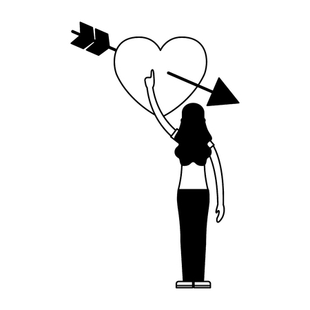 woman touching heart happy valentines day vector illustration  Illustration