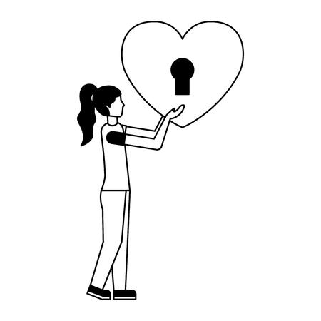 woman holding padlock heart happy valentines day vector illustration  Illustration