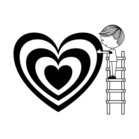 boy on stairs with heart happy valentines day vector illustration