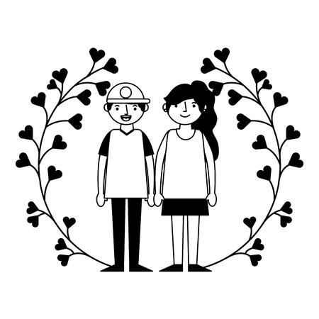 cute couple flowers wreath happy valentines day vector illustration Фото со стока - 115116251