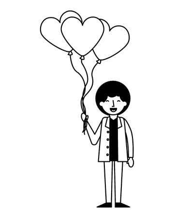 man holding bunch balloons happy valentines day vector illustration