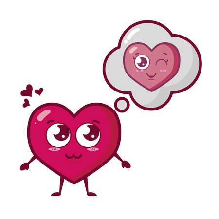 heart thinking love happy valentines day vector illustration