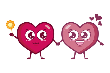 couple hearts with flower happy valentines day vector illustration
