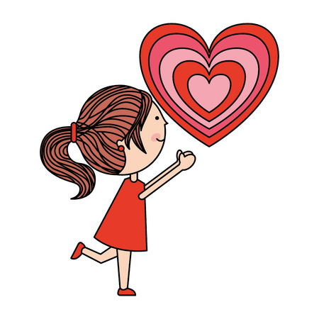 cute girl with heart happy valentines day vector illustration Foto de archivo - 115118254