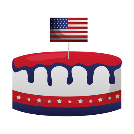 american flag on cake happy presidents day vector illustration