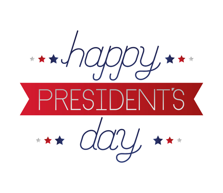 happy presidents day lettering white background vector illustration
