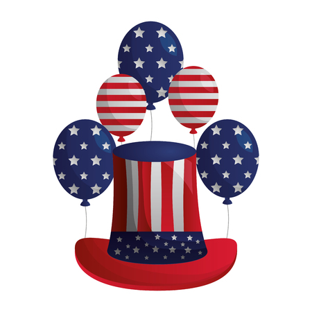 american flag balloons and hat happy presidents day vector illustration